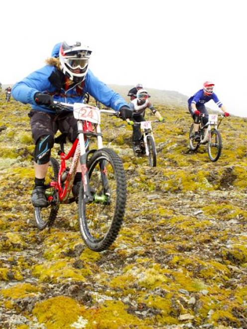 Kelly McGarry (number 24) leads the field early on during the R&R Sport Mega Avalanche, with...