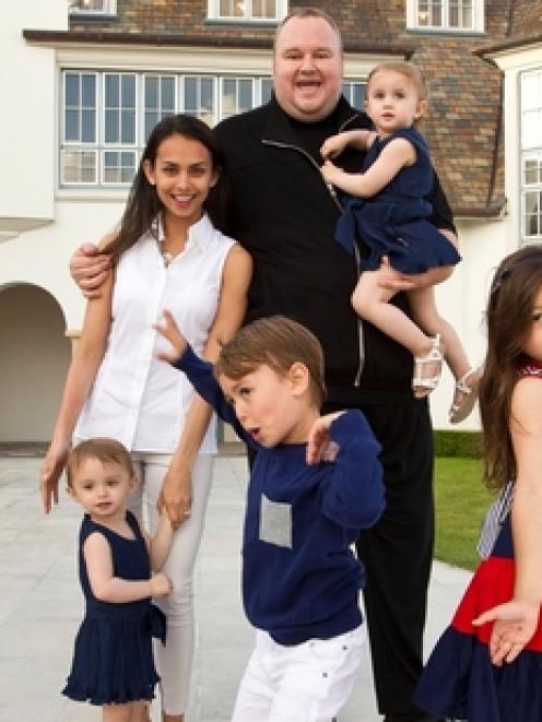 Kim and Mona Dotcom at their mansion with Kobi, left, Kylee, Kimmo, Keera and Kaylo. Kim and Mona...
