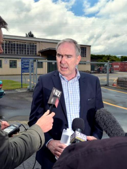 KiwiRail chief executive Jim Quinn speaks to media at Hillside Engineering Workshops in South...