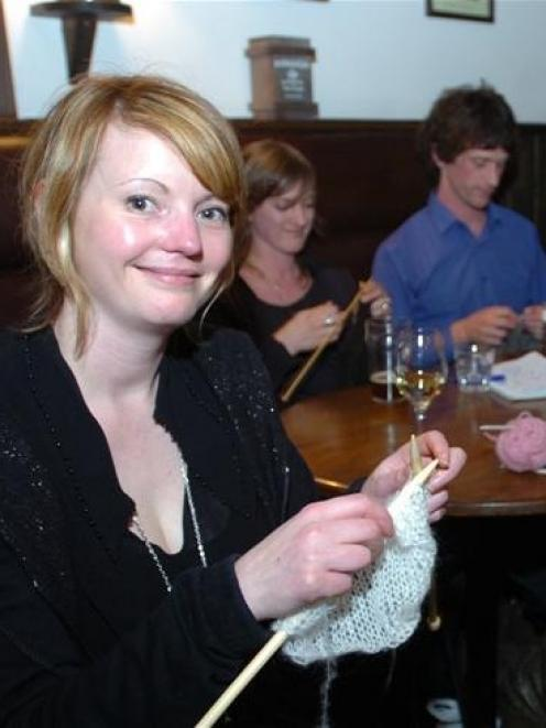 Knitting group members (clockwise from left) Shelley Tiplady, Claire Johnston and Hugh MacMurray,...