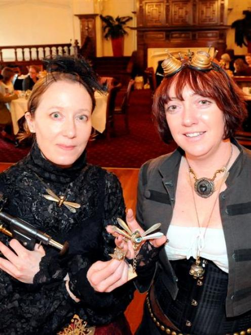 Kura Carpenter (left) and Kirsty Lewis-Bleakley, from Dunedin Steampunk group the Gasworks Guild...