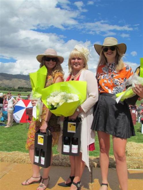 Kurow Races fashion in the field winners, from left, Clarissa Doran, of Timaru (third), winner...