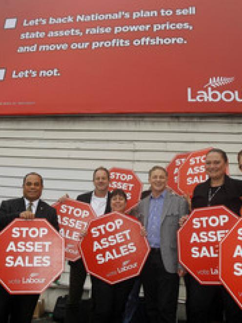 Labour Party leader Phil Goff along with other Labour MP's launch Labour's first Stop Assets...
