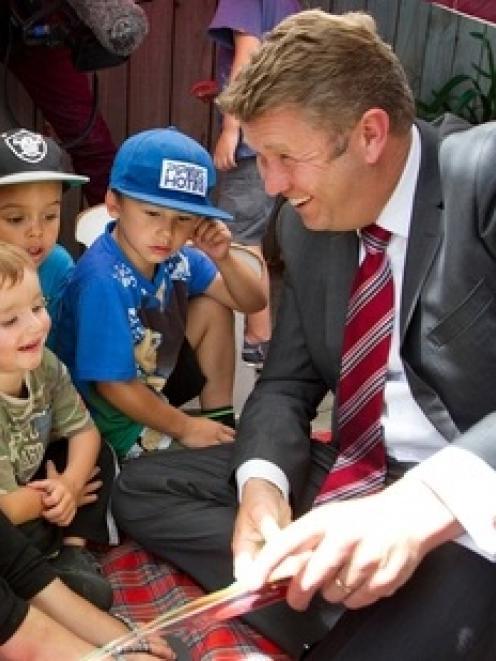 Labour leader David Cunliffe visited the Trentham Kindergarten in Upper Hutt. Photo / Mark Mitchell
