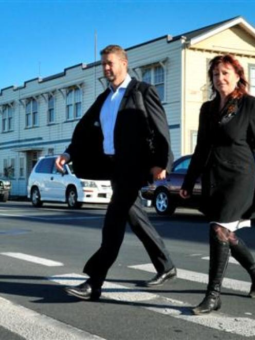 Labour members of Parliament David Cunliffe and Clare Curran leave the Hillside Workshops in...