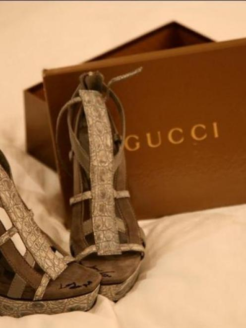 Lady Gaga's autographed Gucci shoe.