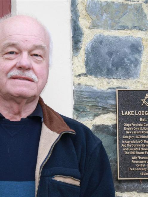 Lake Lodge of Ophir Worshipful Master Martin Chappell with the  commemorative plaque laid on the...