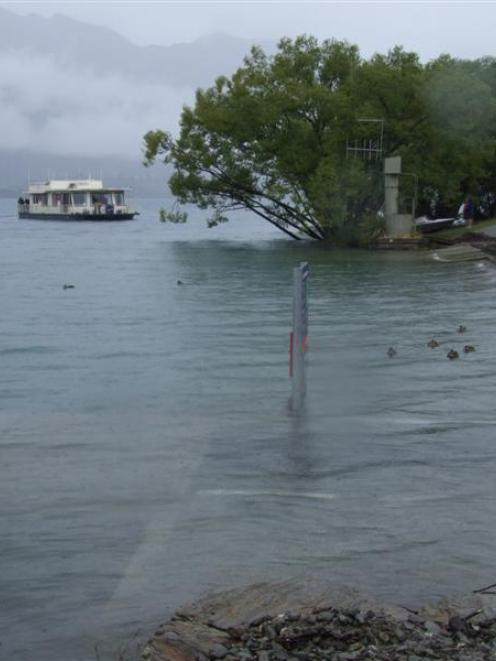 Lake Wanaka's Lady Pembroke houseboat returns to shore yesterday but is unable to berth at the...
