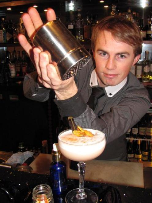 Lalaland Lounge Bar co-owner Shannon Sanderson (28) with his popular Breakfast at Tiffany's...