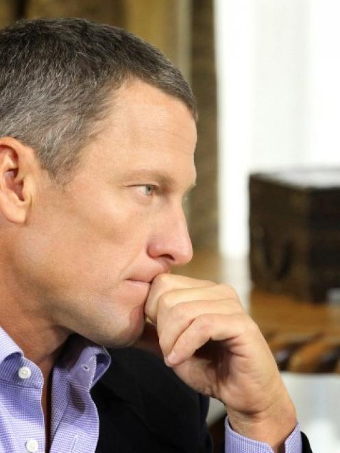 Lance Armstrong is interviewed by Oprah Winfrey in Austin, Texas, in this handout photo courtesy...