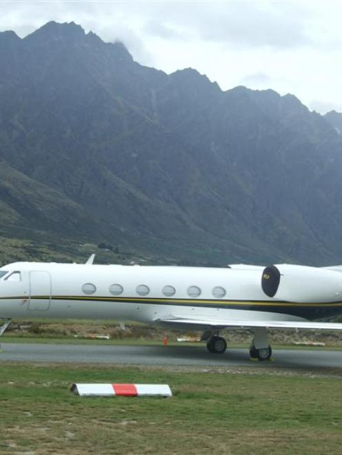 Lance Armstrong's private jet parked at Queenstown Airport. Photo by Joe Dodgeshun.