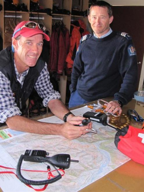 LandSAR Wanaka volunteer Gary Dickson (left) and police search and rescue co-ordinator Sergeant...