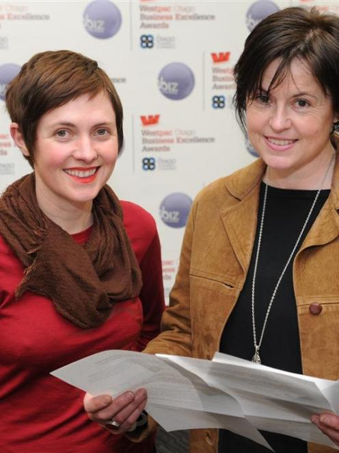 Lani Evans, from ThankYou Payroll (left) and Otago Chamber of Commerce president Ali Copeman....