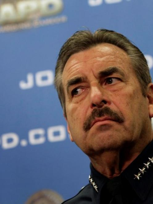 LAPD Police Chief Charlie Beck attends a news conference regarding fugitive former Los Angeles...