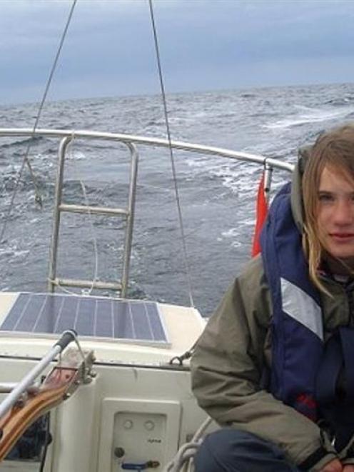 Laura Dekker at sea.