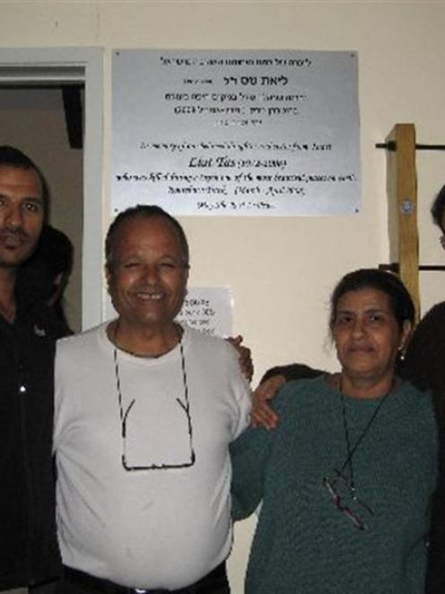 Liat Okin's family, from left, brother Itamar Tas, father Shalom Tas, mother Miriam Tas and...