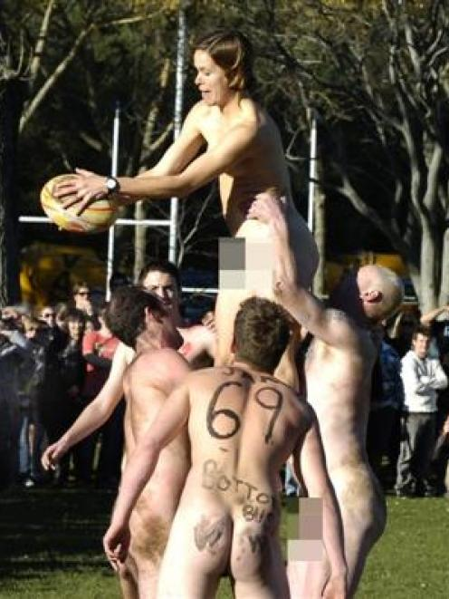 Lineout action at the seventh annual nude rugby international, at Logan Park, Dunedin, on...