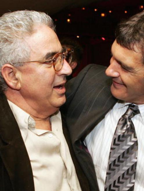 Lloyd Phillips (L), executive producer, and actor Antonio Banderas pose at the after party for...