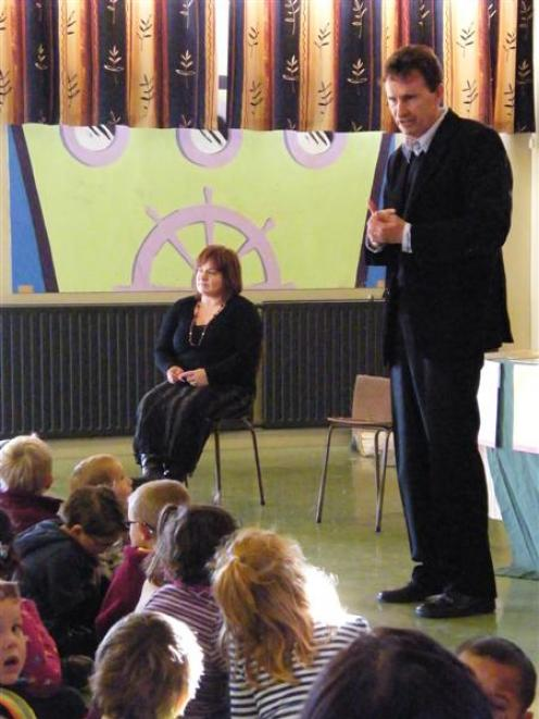 Local role model: Ian ''Inky'' Tulloch speaks to pupils from Mataura Primary School about...