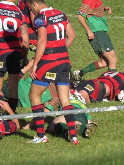 Lock John Morrison gets his first try in four seasons for Arrowtown against Matakanui-Combined on...