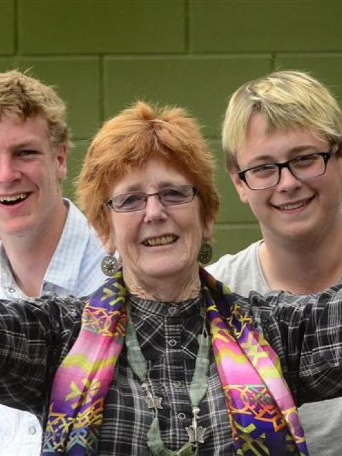 Logan Park High School drama teacher Denise Walsh with senior drama pupils (from left) Orion...