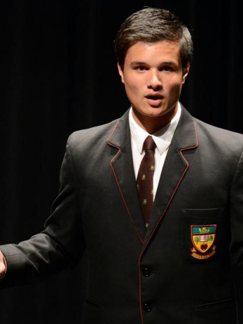 "Logan Park High School pupil Jacobi Kohu-Morris gives the winning speech, titled ""Poverty and..."