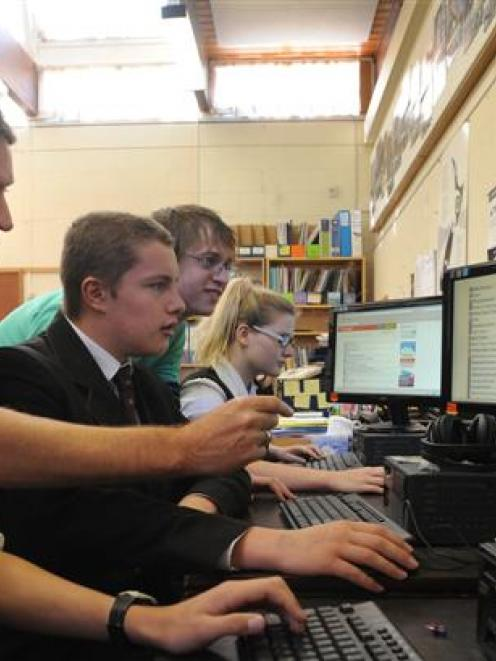 Logan Park High School pupils (from left) Branagh Hender (15), Andrew Brinsley-Pirie (16) and...
