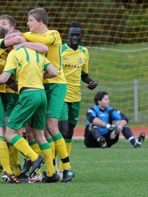 Lower Hutt City celebrates a goal during its 4-0 win against Caversham in the semifinal of the...