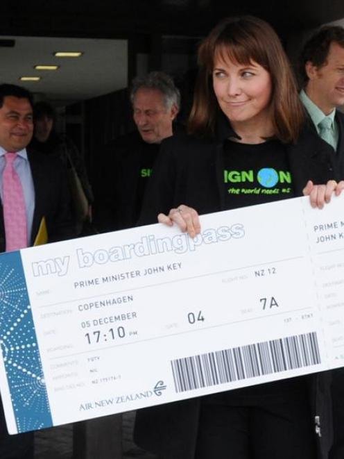 Lucy Lawless leaves Parliament with the boarding pass she hoped to deliver to Prime Minister John...