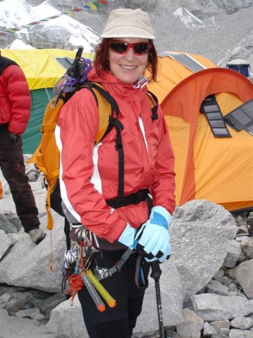 Lydia Bradey prepares for her ascent at Mt Everest Base Camp. Photo supplied.