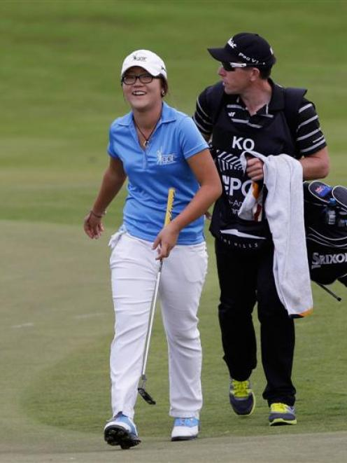 Lydia Ko and her caddie, Guy Wilson, at last year's NZ PGA at The Hills. Photo supplied.