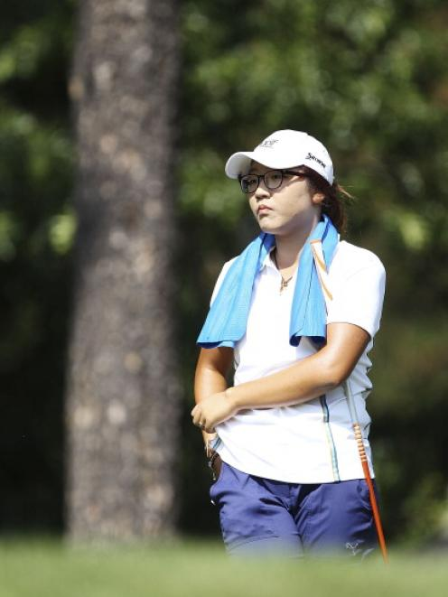 Lydia Ko pauses during day one of the ISPS Handa Australian Open at Royal Canberra Golf Club...