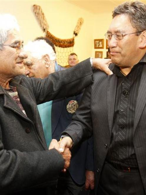 Mana party leader Hone Harawira thanks his supporters at Mahimara marae in Awanui, after winning...