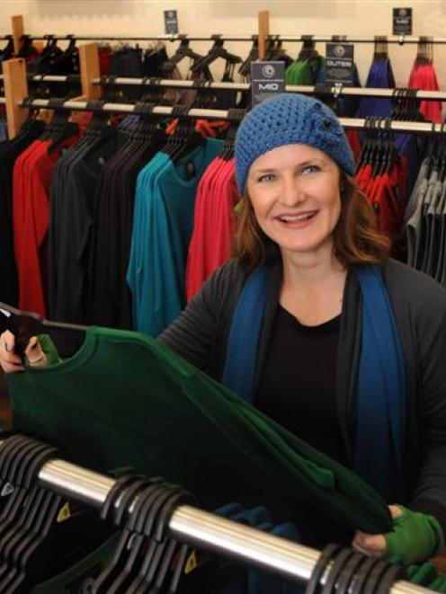 Manager Rebecca Findlater (front) and Karen Lusk in Glowing Sky's Dunedin store in George St....