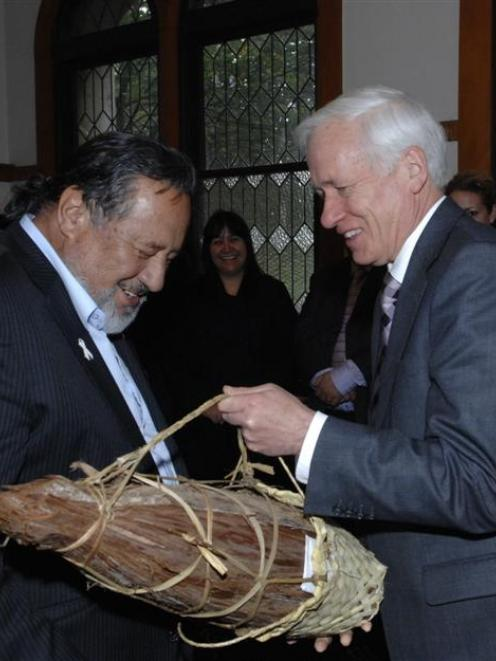 Maori Affairs Minister Dr Pita Sharples (left) is welcomed to the University of Otago by vice...