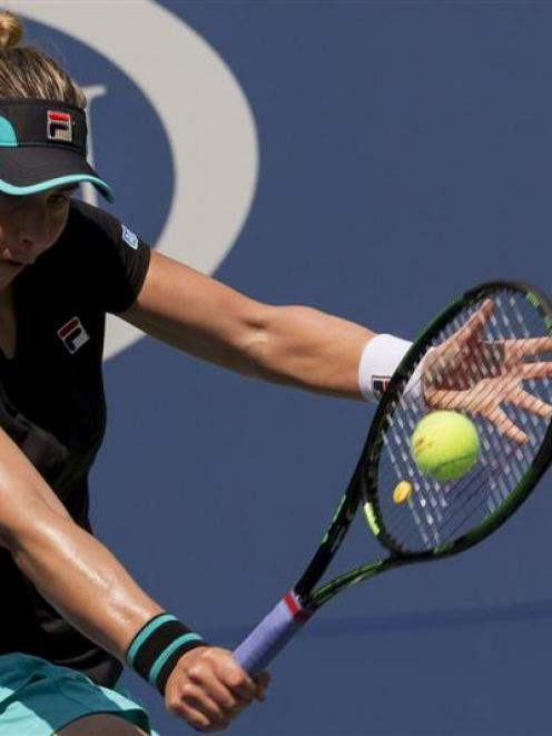Marina Erakovic returns a shot in her first round loss at the US Open. Photo: Reuters.