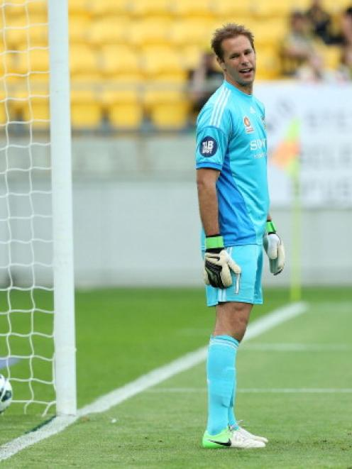 Mark Paston of the Phoenix shows his disappointment after conceding a goal during his team's A...