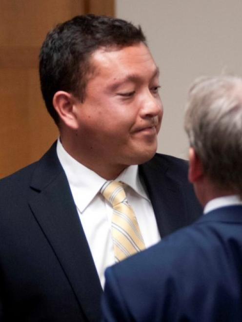 Markus Kaarma (L) and defence attorney Paul Ryan leave Missoula County District Court in Missoula...