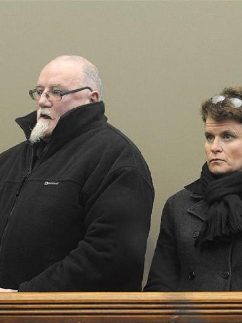 Martin and Ngaire Finnerty in the Dunedin District Court yesterday, when they were convicted of...