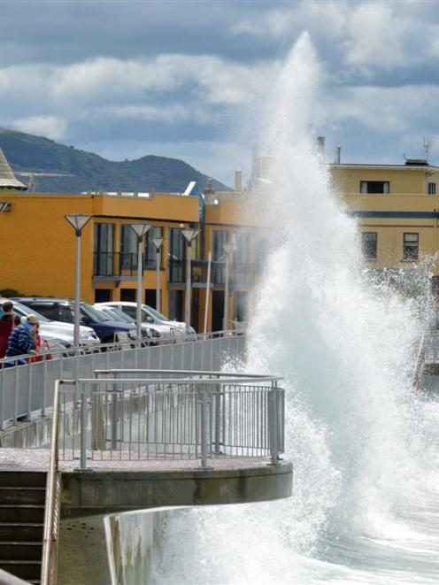 Massive waves at St Clair Beach, Dunedin, may become a more common sight as the sea level rises....