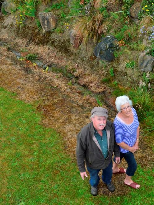 Maurice and Pauline Prendergast examine the handiwork of a Dunedin City Council contractor who...