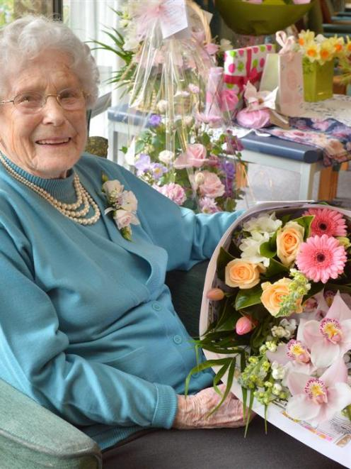 May Cuthbertson celebrated her 100th birthday on Saturday with a family afternoon tea at Ross...