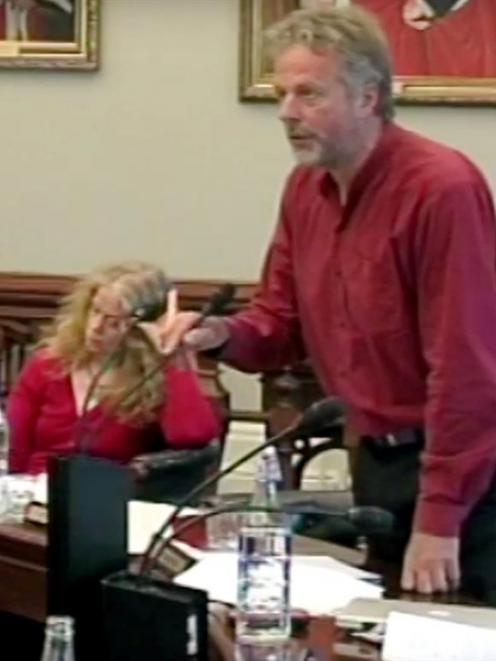 Cr Lee Vandervis airs his views at yesterday's council meeting. Photos by 39 Dunedin Television.