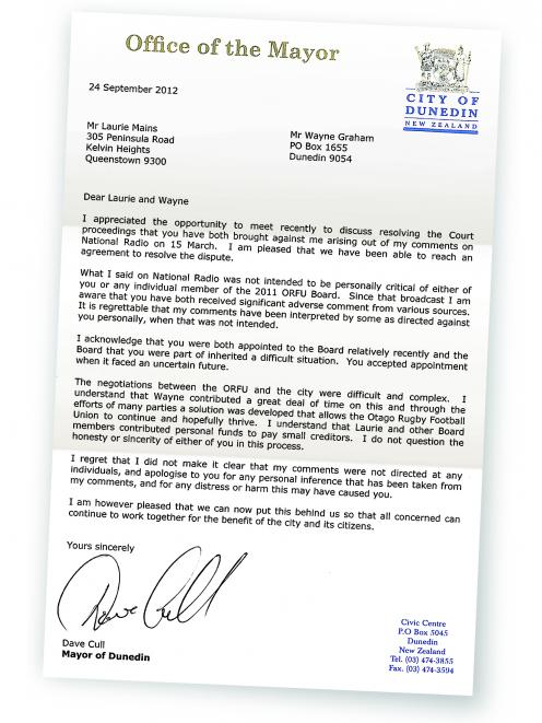 Defamation Action Settled After Cull Apologises Otago Daily Times