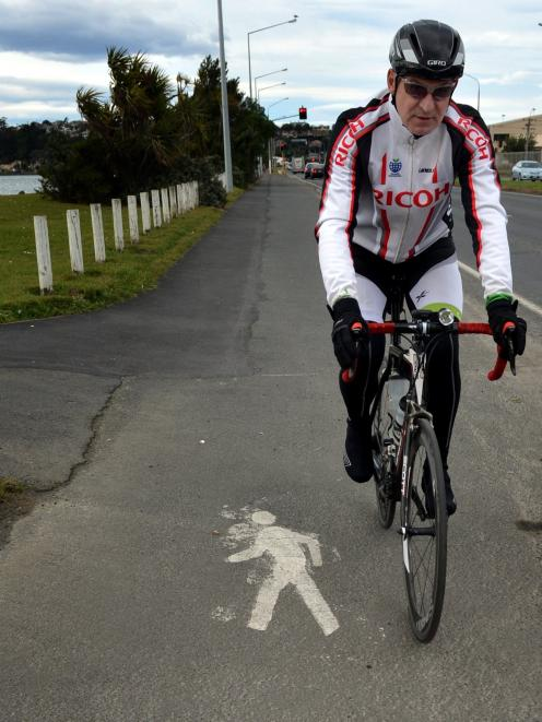Dunedin cyclist Russell McGarry had the Portsmouth Dr shared path more or less to himself at...