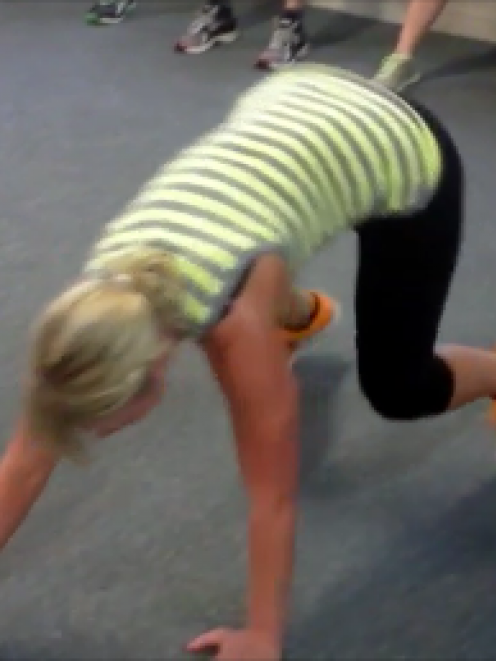 "Me doing the ""Bear Crawl"""