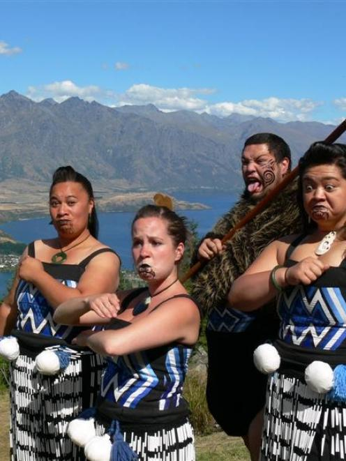 Members of Queenstown's Kiwi Haka Maori cultural performance group (from left) Liz Davis, Emere...
