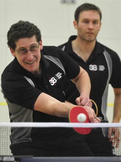 Men's singles finalists Ben Duffy (left), of Otago, and Craig Dye, of North Harbour, play...