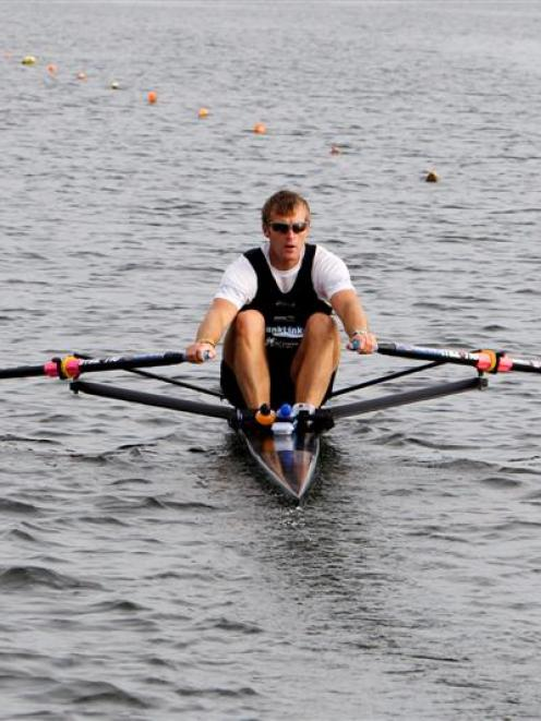 Men's singles sculler Mahe Drysdale in preparation for the world rowing championships starting...