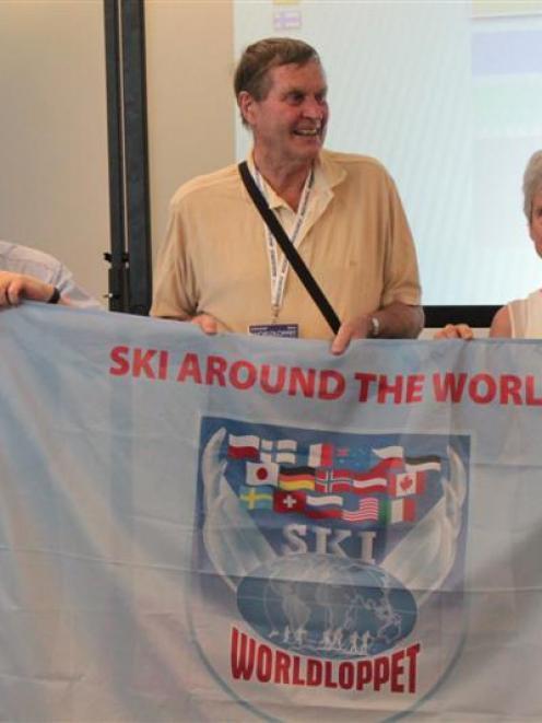 Merino Muster Ltd chairman John Burridge (left) nand Snow Farm founders John and Mary Lee at the...